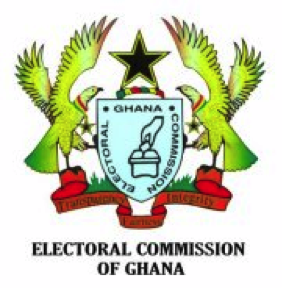 The seal of the Electoral Commission of Ghana, two birds and a star surround a shield
