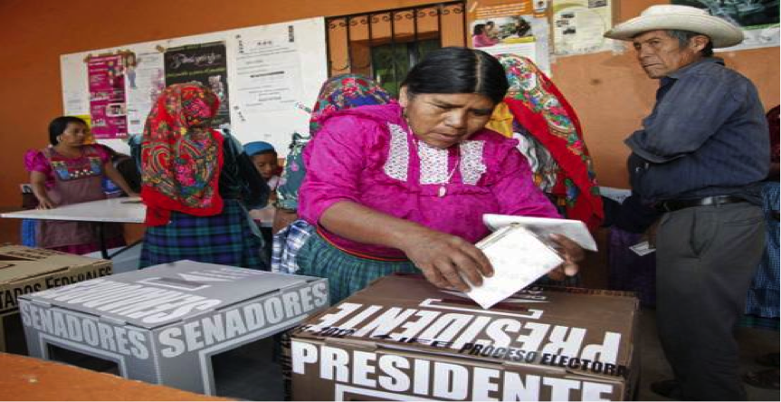 A woman dressed in pink puts her ballot paper in a presidential ballot box